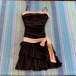 A. Byer Black and Cream Formal Dress